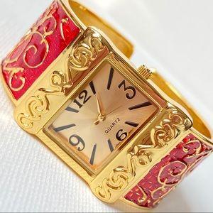 Gold Cuff Bracelet Watch Women's
